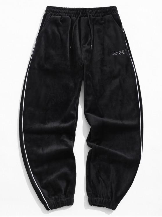 new Letter Embroidery Contrast Trim Velour Jogger Pants - BLACK XL