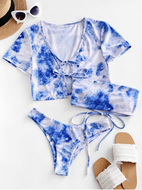 women ZAFUL Lace Up Tie Dye Bikini Swimsuit with Cover Up Top - MULTI-A L