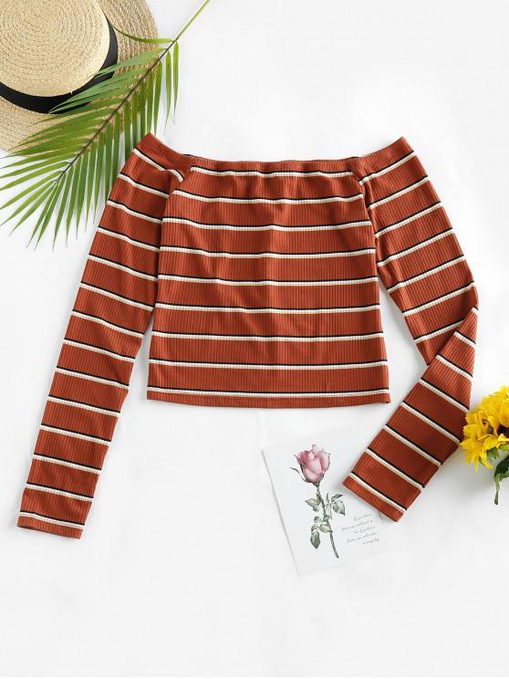 latest ZAFUL Stripe Off Shoulder Cropped T Shirt - MULTI M