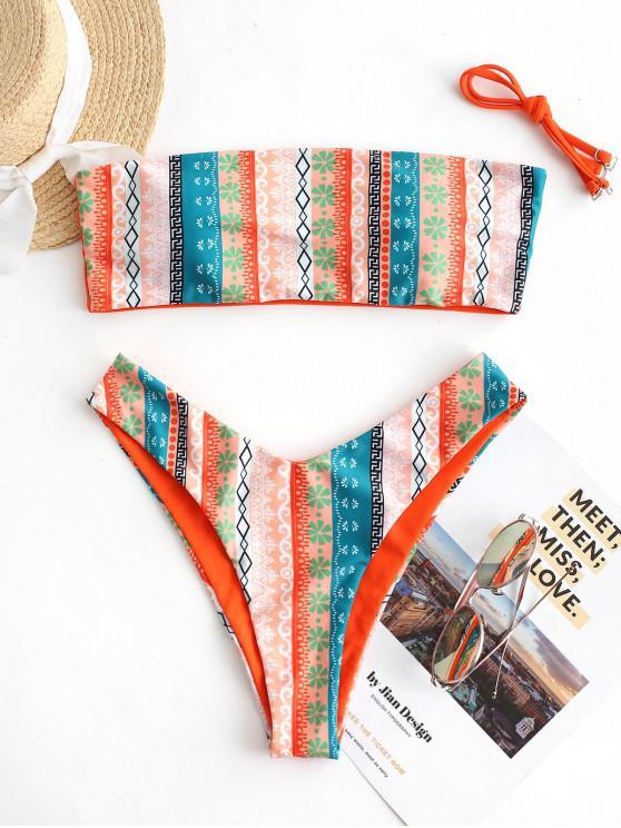 chic ZAFUL Ethnic Print High Cut Reversible Bikini Swimsuit - ORANGE S