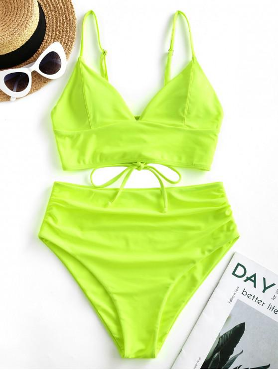 ladies ZAFUL Neon Lace Up High Waisted Tankini Swimsuit - CHARTREUSE M