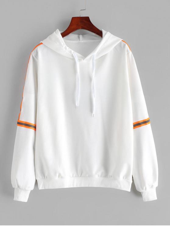 fancy Reflective Striped Trim Drawstring Hoodie - WHITE S