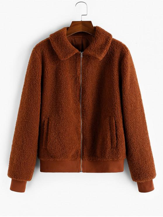 affordable ZAFUL Zip Up Faux Shearling Pocket Teddy Coat - RUST L