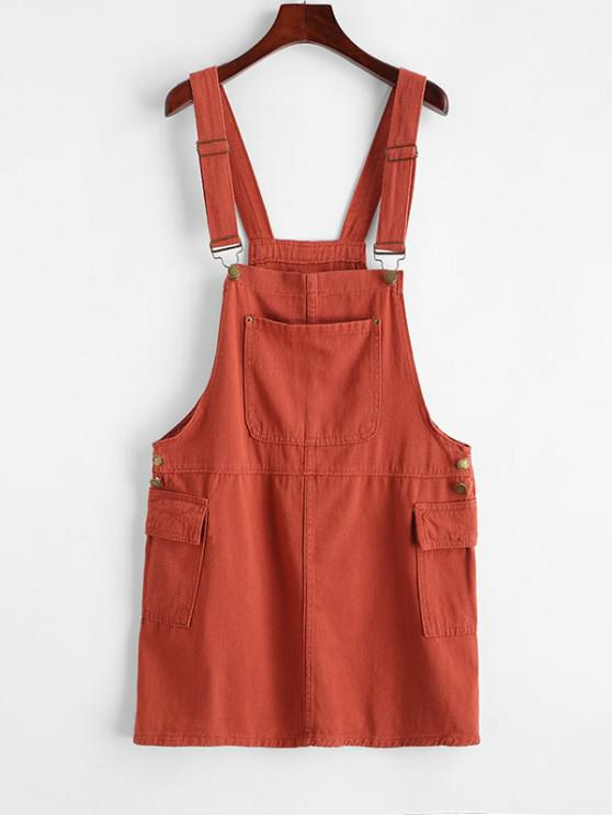 chic Buttoned Flap Pockets Casual Overalls Dress - LIGHT BROWN M