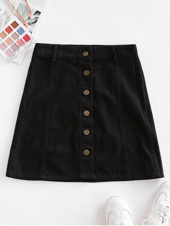 chic Solid Button Up A Line Mini Skirt - BLACK M