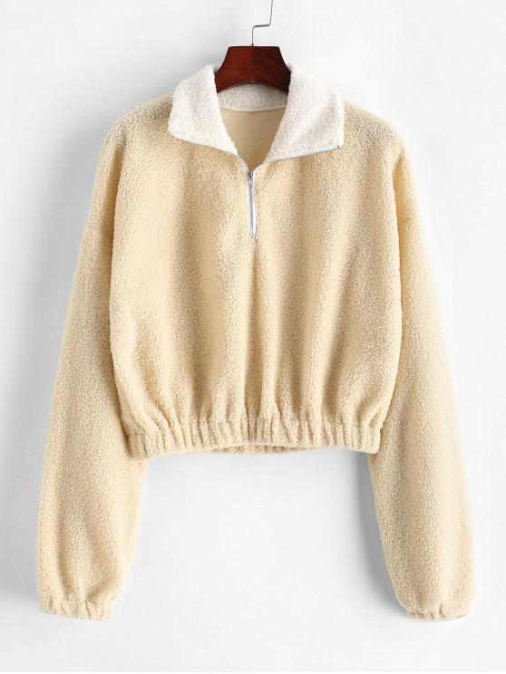 sale ZAFUL Drop Shoulder Half Zip Teddy Sweatshirt - CORNSILK S