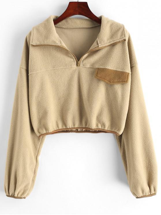 womens ZAFUL Contrast Piping Half Zip Fleece Sweatshirt - LIGHT KHAKI L