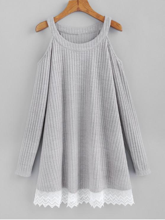 shop ZAFUL Ribbed Lace Hem Cold Shoulder Knit Dress - LIGHT GRAY L