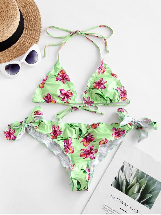 ZAFUL flori căpăstru Salată Trim Tie Side Bikini de costume de baie - Verde deschis M