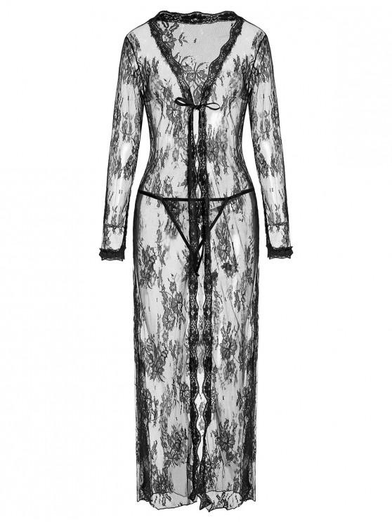 unique Knotted Lace Maxi Nightgown Set - BLACK S