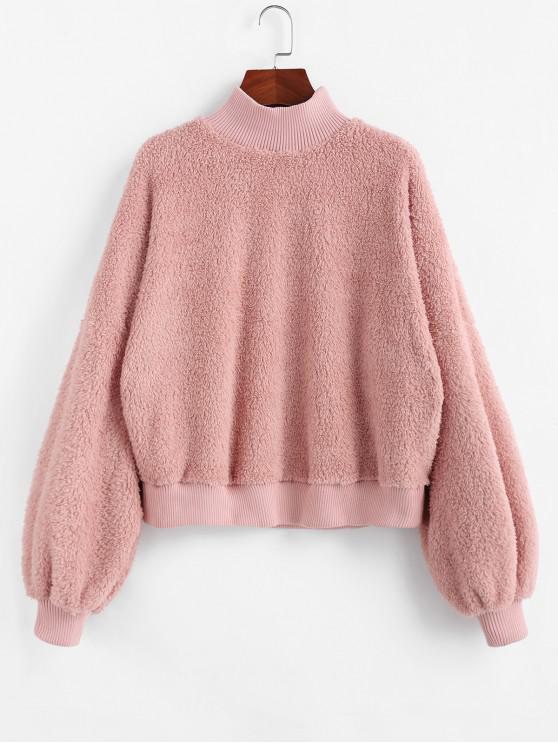 ZAFUL Sweat-shirt Fourré Goutte Epaule à Col Montant - Rose Léger  S