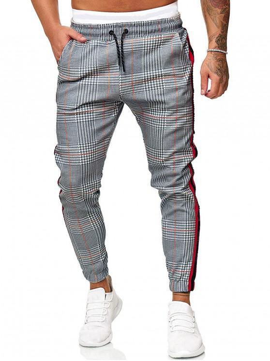 shop Drawstring Houndstooth Print Contrast Striped Jogger Pants - LIGHT GRAY S