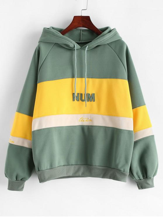 unique Fleece Color-blocking Raglan Sleeve Hoodie - GREEN XL