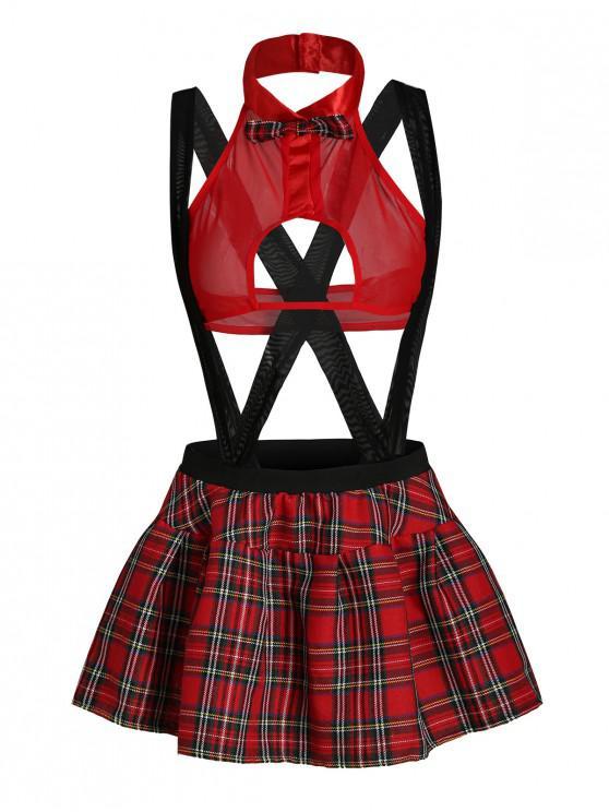 shop Bowknot Plaid School Girl Lingerie Costume - LAVA RED XL