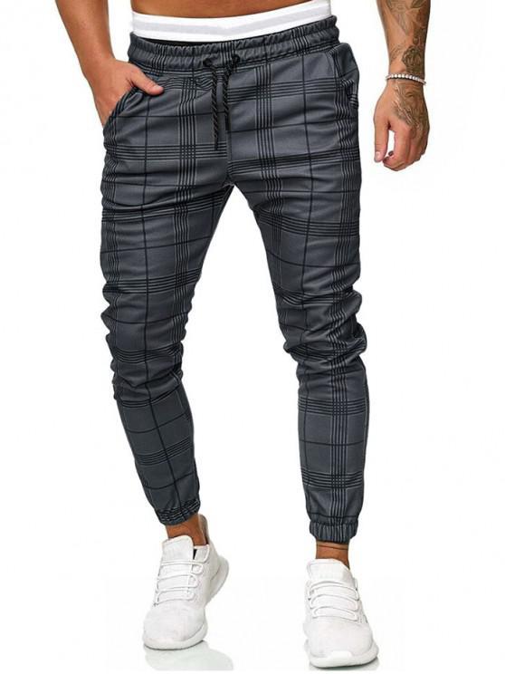 buy Plaid Print Drawstring Jogger Pants - DARK GRAY S