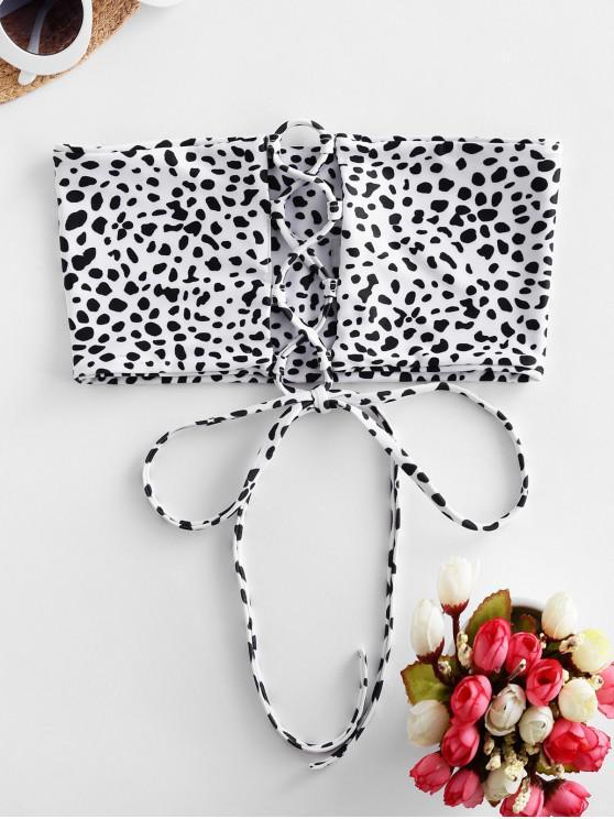 unique ZAFUL Dalmatian Print Lace-up Bandeau Bikini Top - WHITE M