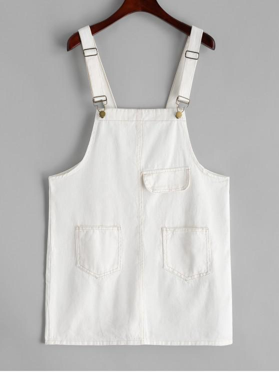 lady Contrast Stitching Front Pockets Mini Overalls Dress - WHITE L