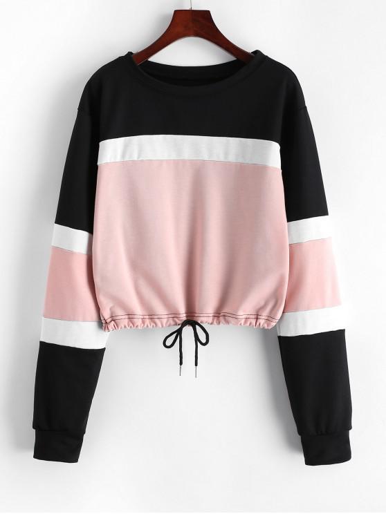 women Color-blocking Drawstring Hem Sweatshirt - PINK XL