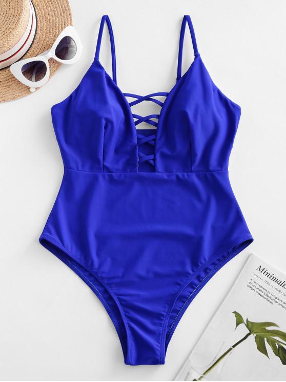 ZAFUL Cami Criss Cross Backless Uma peça Swimsuit - Azul cobalto XL
