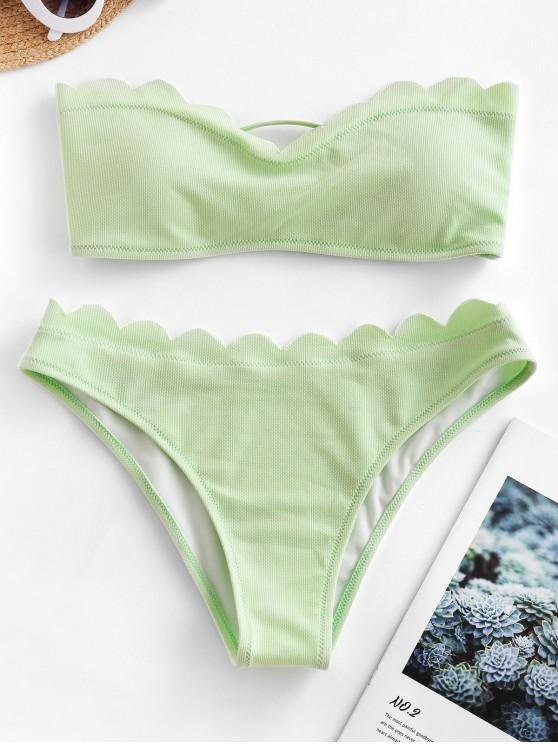 best ZAFUL Textured Scalloped Sweetheart Bandeau Bikini Swimsuit - MINT GREEN L