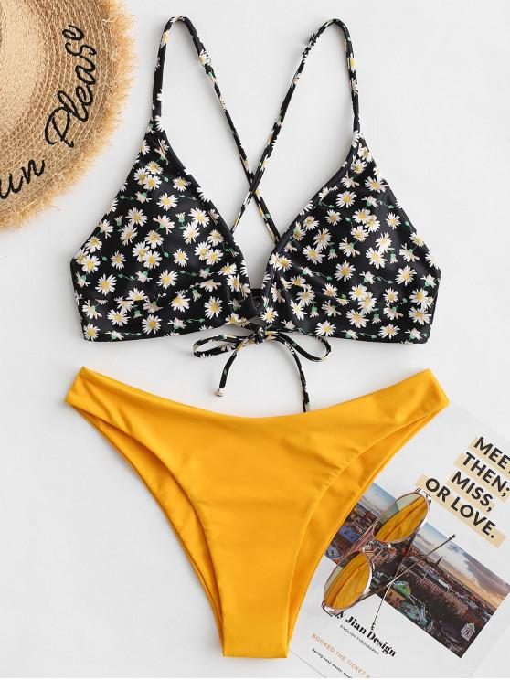 fashion ZAFUL Ditsy Floral Cross Lace Up V-wire Bikini Swimsuit - YELLOW M