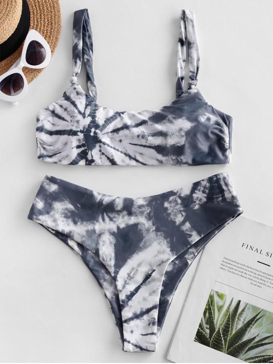 women ZAFUL Tie Dye High Leg Scoop Neck Bikini Swimsuit - MULTI-A L
