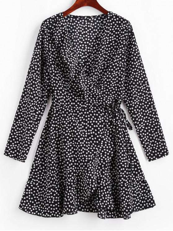 best Long Sleeve Floral Ruffles Wrap Dress - BLACK M