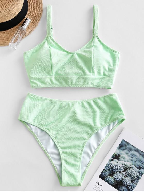 buy ZAFUL Lace Up Textured Bikini Swimsuit - MINT GREEN 2XL
