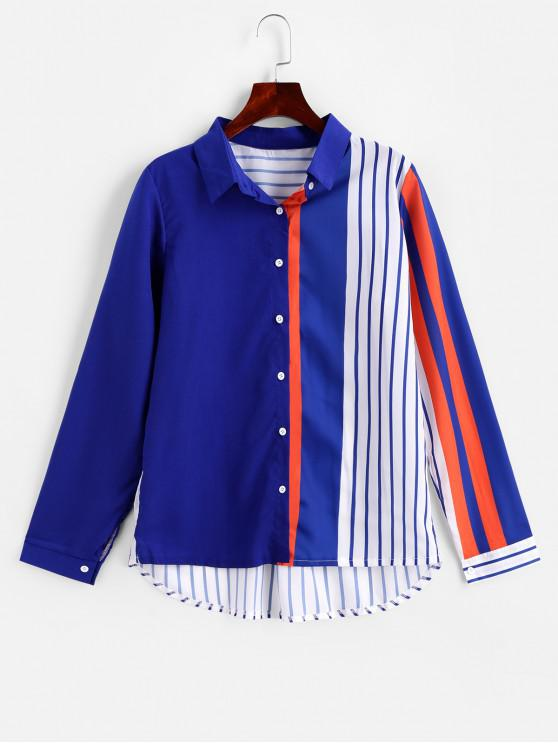 online Contrast Striped Button Up Curved Shirt - BLUE XL
