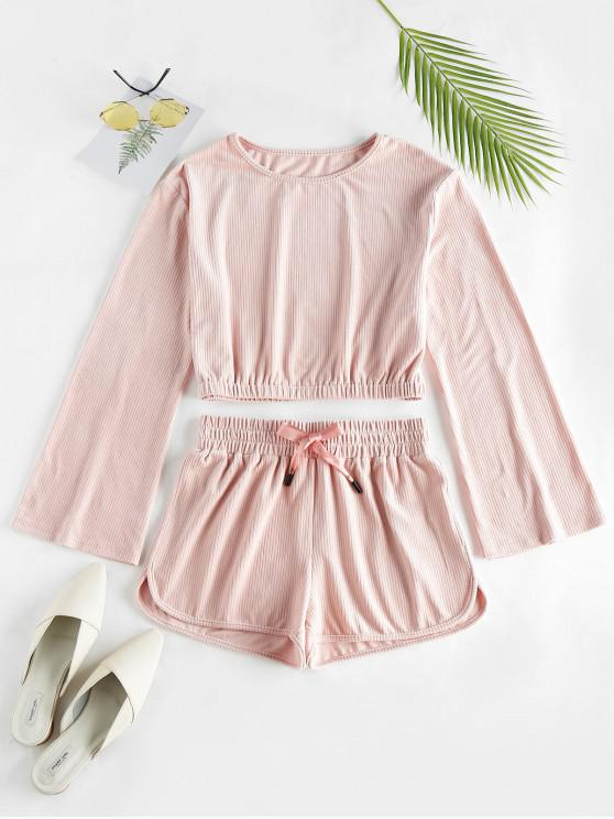 trendy ZAFUL Plain Top and Shorts Co Ord Set - PINK ROSE S