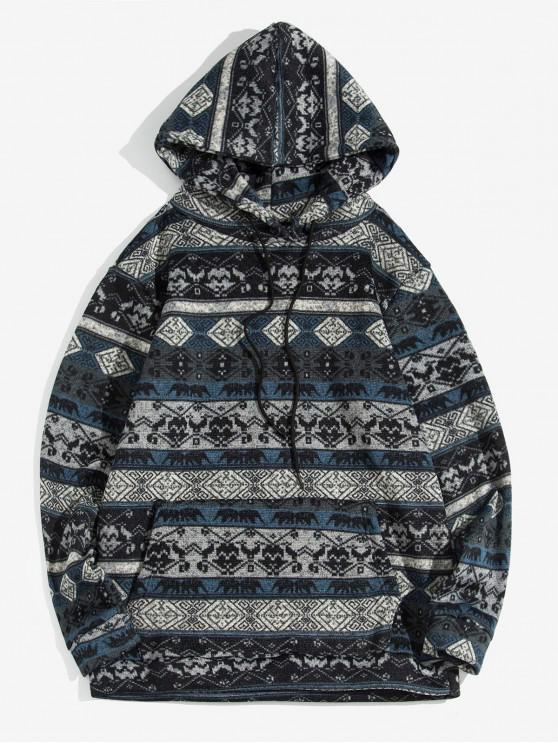 chic Tribal Print Kangaroo Pocket Hoodie - CADETBLUE S