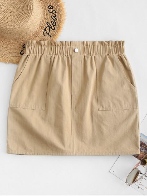 outfit ZAFUL Button Embellished Solid Paperbag Skirt - TAN M