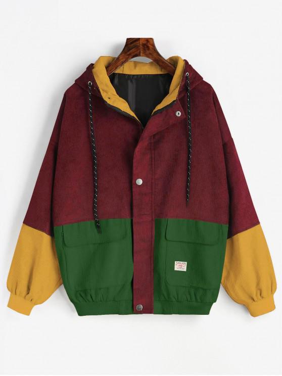 buy Hooded Color Block Corduroy Jacket - CHESTNUT RED L