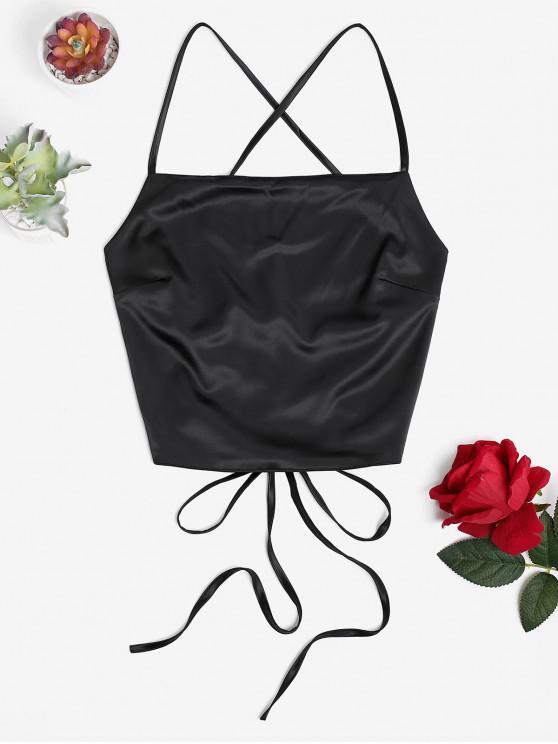 women Criss Cross Backless Crop Tank Top - BLACK M