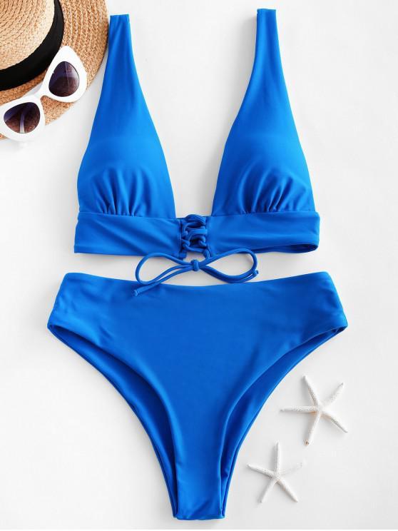 ladies ZAFUL Plunging Lace Up High Leg Bikini Swimsuit - OCEAN BLUE L