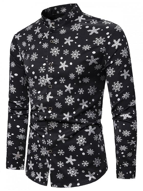 online Snowflake Gilding Printed Long Sleeves Shirt - SILVER 2XL