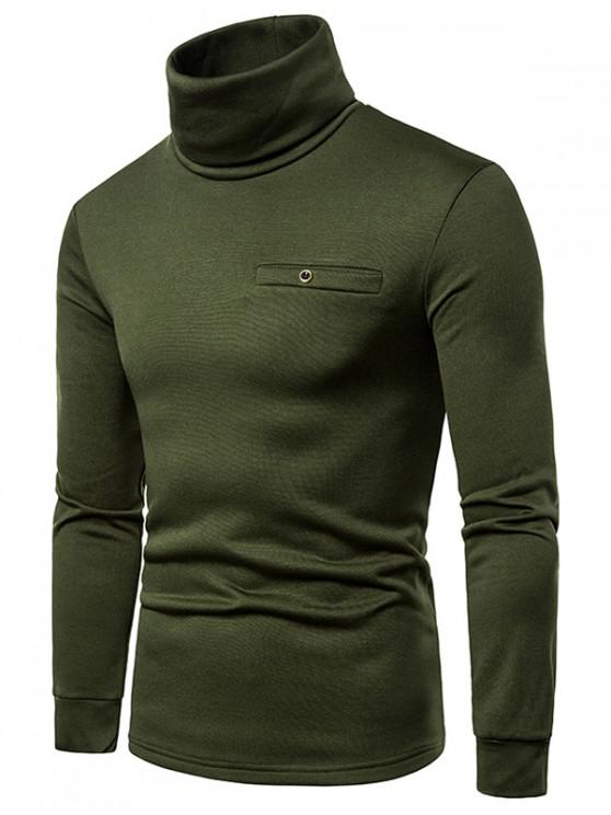 online Solid Color Turtleneck Faux Pocket Fleece T-shirt - ARMY GREEN 2XL