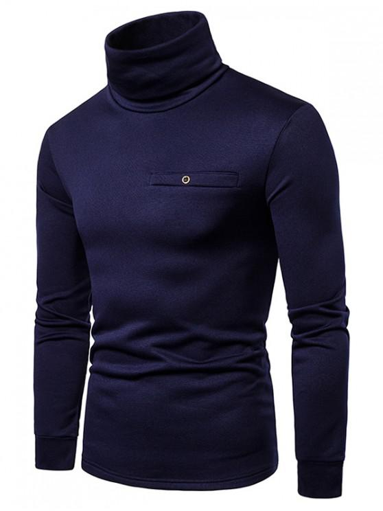 latest Solid Color Turtleneck Faux Pocket Fleece T-shirt - CADETBLUE L
