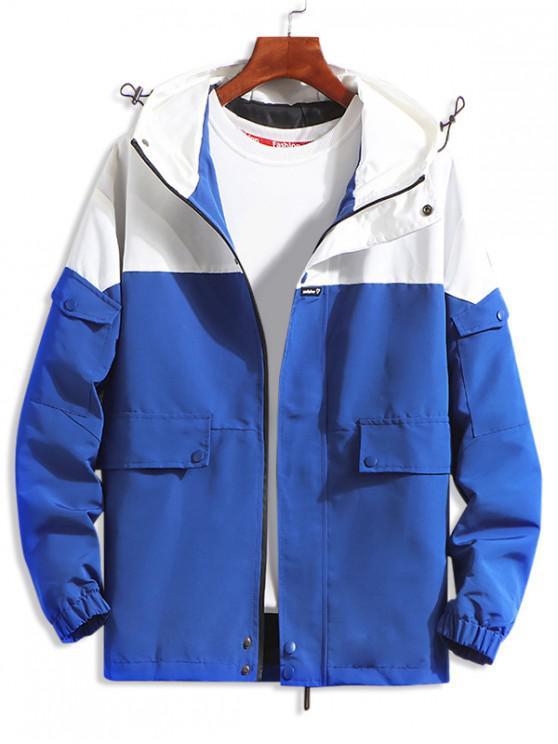 buy Letter Pattern Pocket Decorated Hooded Jacket - BLUE 3XL