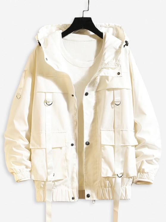 buy Solid Color Pocket Decorated Hooded Jacket - WHITE 3XL