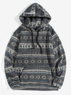 Tribal Pattern Drawstring Casual Hoodie - Gray 2xl