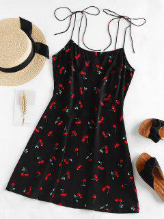 ZAFUL Cherry Print Tie Shoulder Mini Dress - Black M