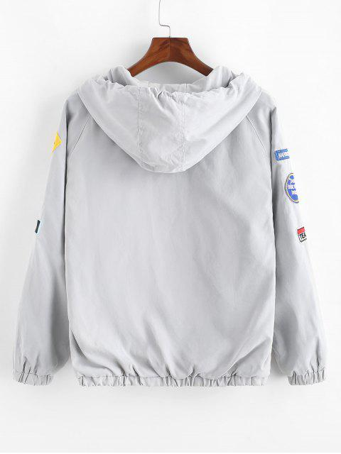 sale Letter Embroidery Applique Raglan SleeveHooded Jacket - LIGHT GRAY L Mobile