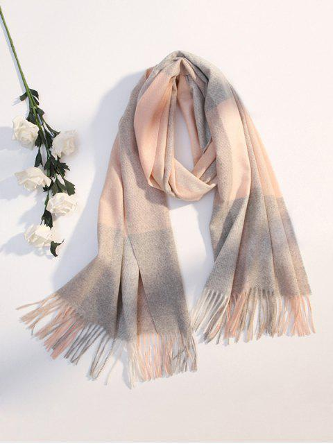 women's Winter Plaid Pattern Fringe Scarf - PINK  Mobile