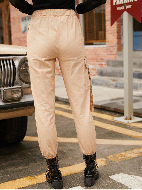 Pantalones jogger de cintura alta con bolsillo bordado - Albaricoque XS Mobile