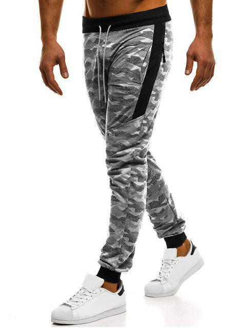 chic Camouflage Print Zipper Embellished Drawstring Jogger Pants - GRAY XL Mobile