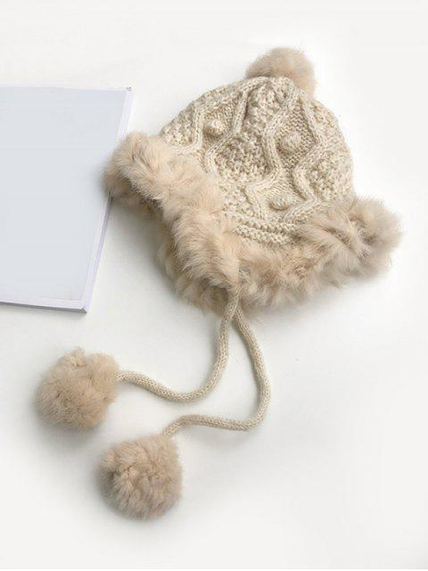 new Knitted Faux Fur Bobble Ear Hat - BEIGE  Mobile