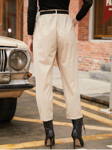 Pantalones con cinturón de bolsillo de cintura alta - Albaricoque L Mobile