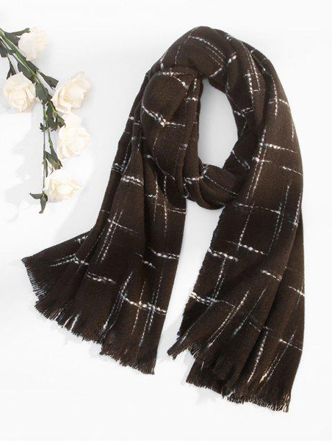 lady Fringe Plaid Cross Pattern Long Scarf - BLACK  Mobile