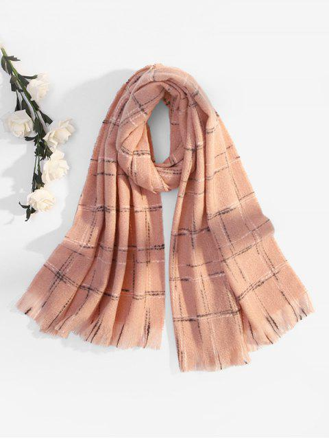 outfit Fringe Plaid Cross Pattern Long Scarf - PINK  Mobile
